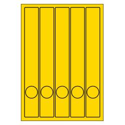 Rug-etiketten voor smalle ordner met gat  100 vel p.doos GEEL