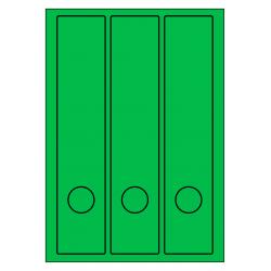 Rug-etiketten voor brede ordners + gat  100 vel p.doos GROEN